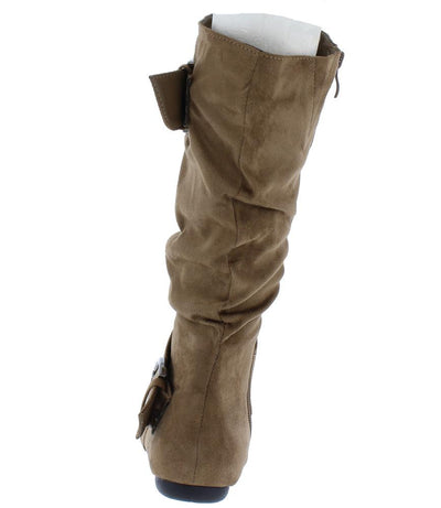 Klein70 Taupe Almond Toe Dual Buckle Mid Calf Boot - Wholesale Fashion Shoes