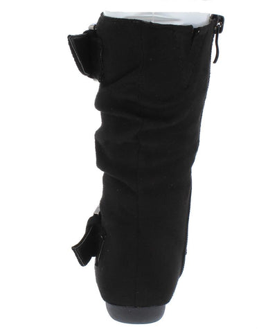 Klein70k Black Almond Toe Dual Buckle Mid Calf Kids Boot - Wholesale Fashion Shoes