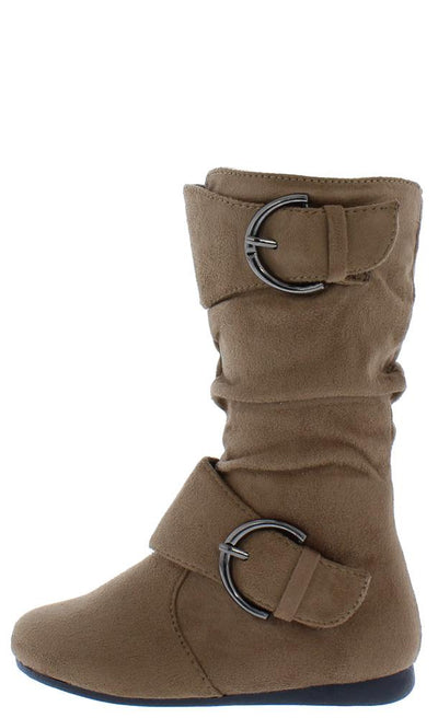 Klein70k Taupe Almond Toe Dual Buckle Mid Calf Kids Boot - Wholesale Fashion Shoes