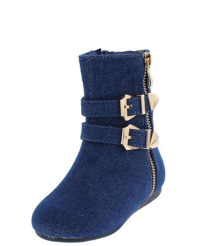 Klein90k Blue Denim Double Buckle Side Zip Kids Boot - Wholesale Fashion Shoes