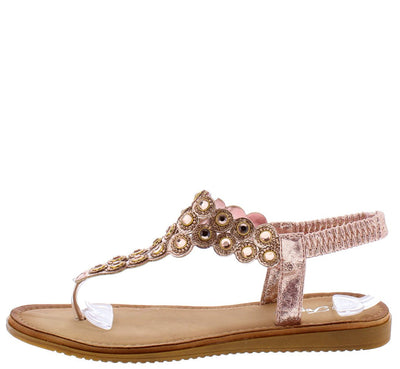 Knit42 Pink Rhinestone T Panel Slingback Thong Sandal - Wholesale Fashion Shoes