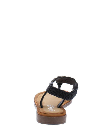 Knit42k Black Rhinestone T Panel Slingback Kids Sandal - Wholesale Fashion Shoes