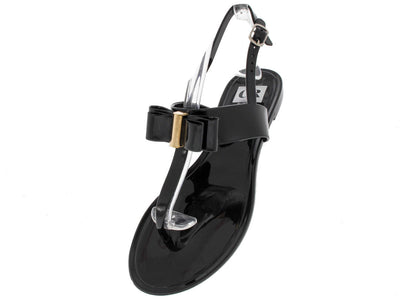Korszy1 Black Jelly Bow Sandal - Wholesale Fashion Shoes