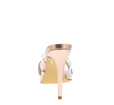 Krisp Rose Gold Rhinestone Lucite Peep Toe Mule Stiletto Heel - Wholesale Fashion Shoes