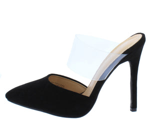 8d3441fc2413 Gensis177 Black Suede Pointed Toe Lucite Band Stiletto Heel - Wholesale Fashion  Shoes