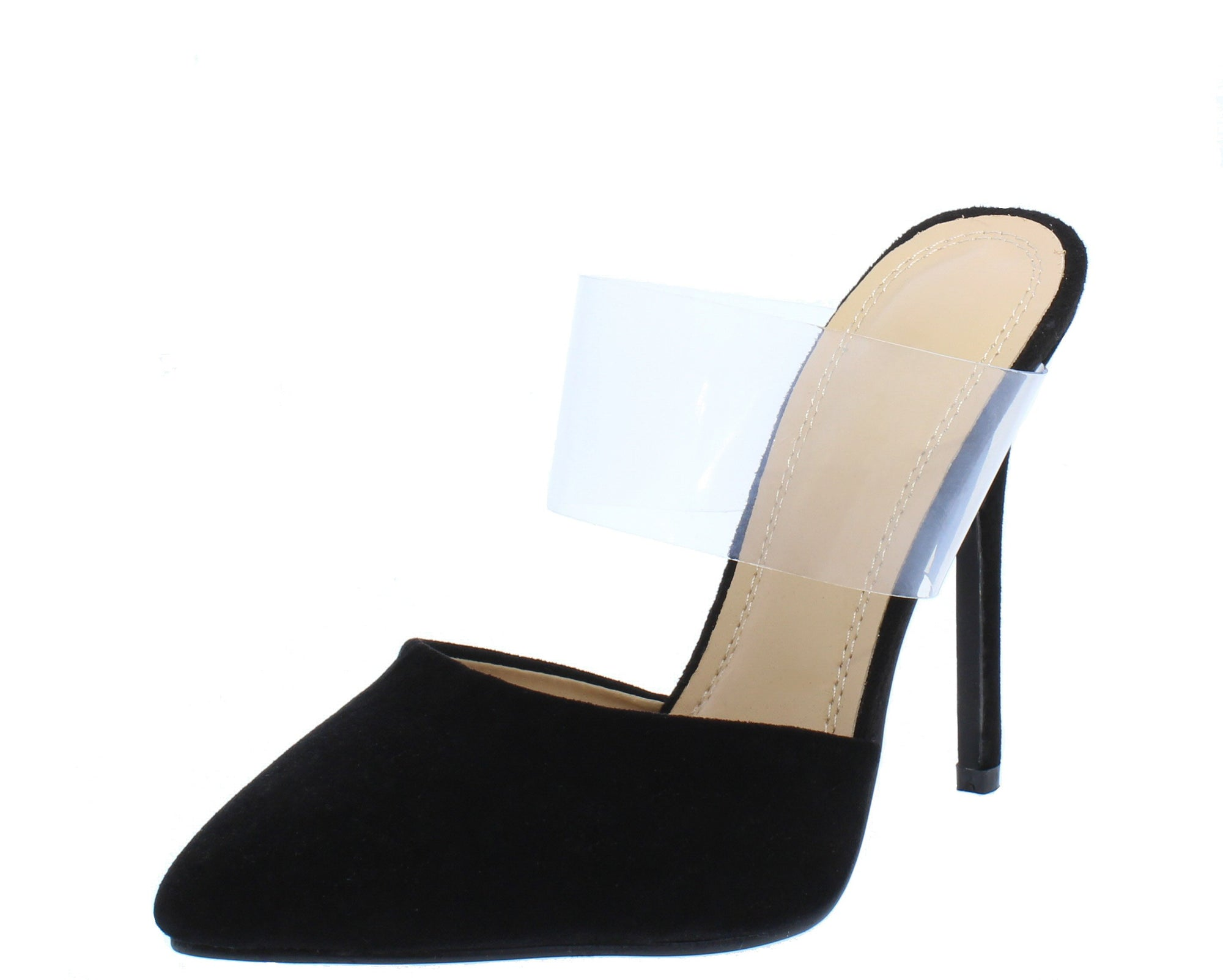 0020d81f57f Gensis177 Black Suede Pointed Toe Lucite Band Stiletto Heel - Wholesale  Fashion Shoes