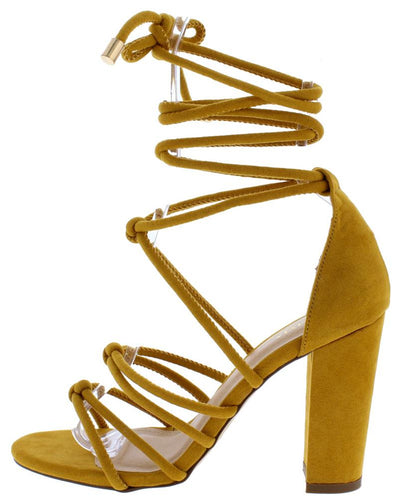 Kristen Mustard Knotted Open Toe Ankle Wrap Chunky Heel - Wholesale Fashion Shoes