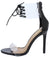 Kulture Black Patent Pu Lucite Ankle Lace Up Stiletto Heel