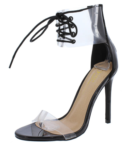 Kulture Black Patent Pu Lucite Ankle Lace Up Stiletto Heel - Wholesale Fashion Shoes