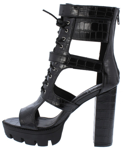 Tyler071 Black Caged Lace Up Peep Toe Boot - Wholesale Fashion Shoes