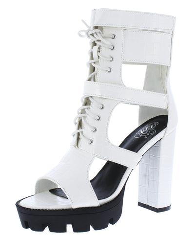 Tyler071 White Caged Lace Up Peep Toe Boot - Wholesale Fashion Shoes