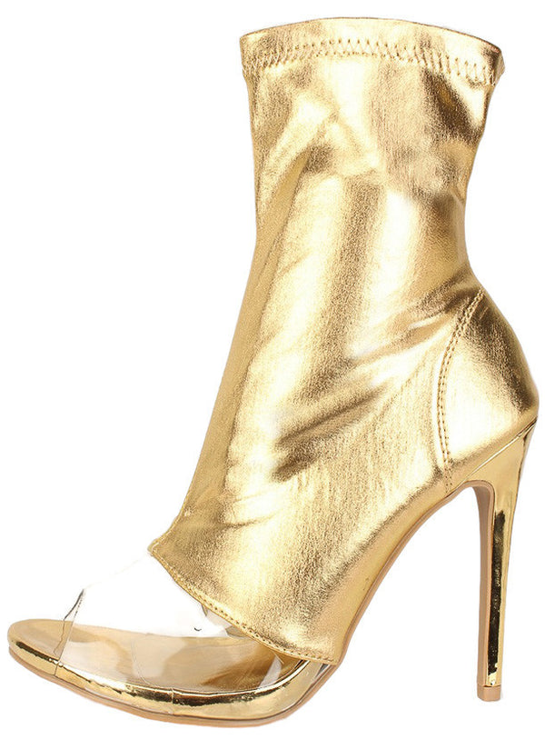 46351cdd5 Kylen Gold Metallic Clear Peep Toe Stiletto Boot