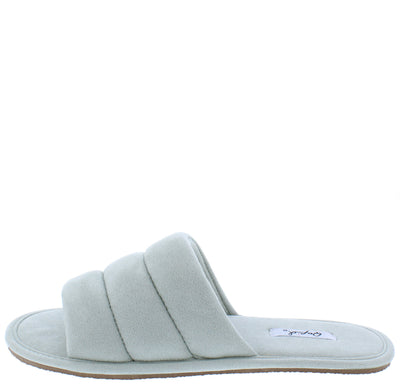Kylo07a Aloe Quilted Open Toe Flat Slide Sandal