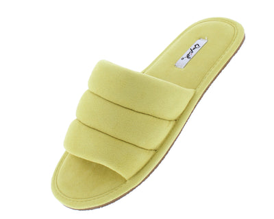 Kylo07a Yellow Quilted Open Toe Flat Slide Sandal