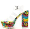 Lad22a Yellow Multi Fabric Women's Heel - Wholesale Fashion Shoes