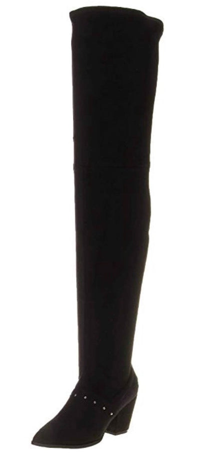 Sophia150 Black Suede Studded Thigh High Boot - Wholesale Fashion Shoes