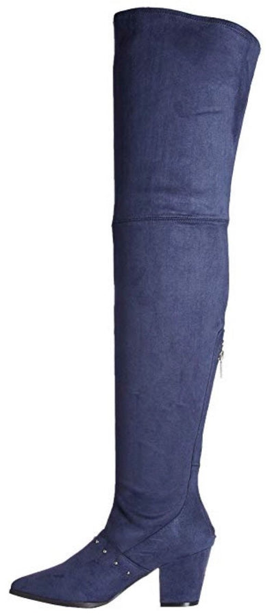 Sophia150 Navy Suede Studded Thigh High Boot - Wholesale Fashion Shoes