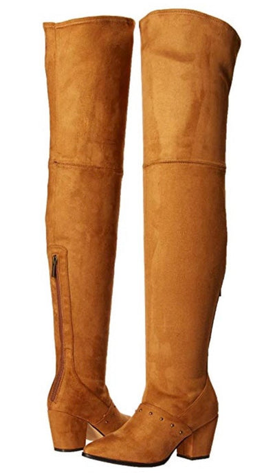 Sophia150 Tan Suede Studded Thigh High Boot - Wholesale Fashion Shoes