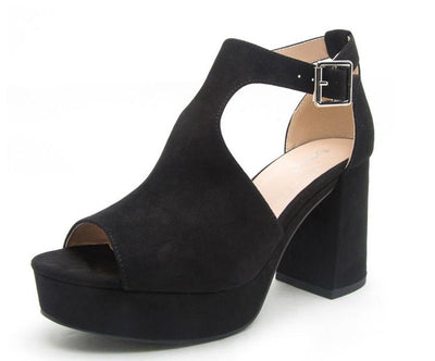 Lawson01 Black Peep Toe Cut Out Chunky Platform Heel - Wholesale Fashion Shoes