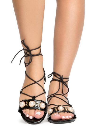 Leela5 Black Faux Pearl Open Toe Ghillie Lace Up Sandal - Wholesale Fashion Shoes