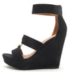Lena638 Black Distressed Women's Wedge - Wholesale Fashion Shoes