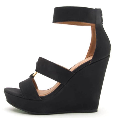 Lena638 Black Distressed Gold Ring Tri Strap Wedge - Wholesale Fashion Shoes