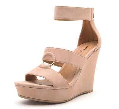 Lena638 Blush Distressed Women's Wedge - Wholesale Fashion Shoes