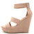 Lena638 Blush Distressed Women's Wedge