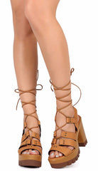 LESLIE05 CAMEL PU LACE UP LUG SOLE HEEL - Wholesale Fashion Shoes