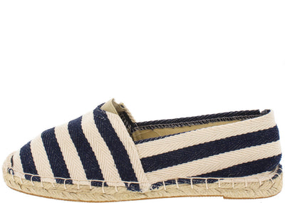 Lika01 Navy Striped Espadrille Flat - Wholesale Fashion Shoes