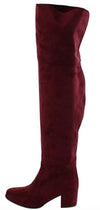 Linden010k Burgundy Suede Over The Knee Boot - Wholesale Fashion Shoes