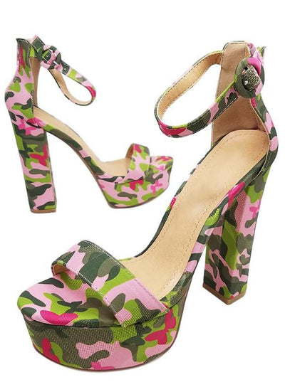 Aria193 Pink Camo Open Toe Ankle Strap Tall Platform Heel - Wholesale Fashion Shoes