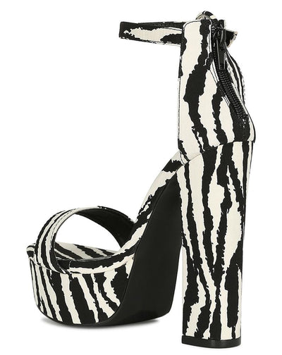 Aria193 Zebra Open Toe Ankle Strap Tall Platform Heel - Wholesale Fashion Shoes