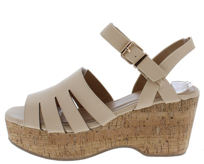 Logan05a Nude Women's Wedge - Wholesale Fashion Shoes