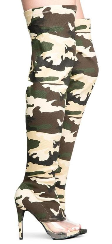 Lola15 Camo Clear Peep Toe Thigh High Fitted Boot - Wholesale Fashion Shoes