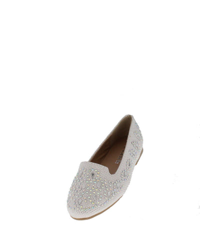 Lonita74 White Rhinestone Studded Flat - Wholesale Fashion Shoes