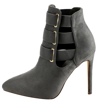 Devon385 Grey Elastic Pointed Toe Stiletto Ankle Boot - Wholesale Fashion Shoes