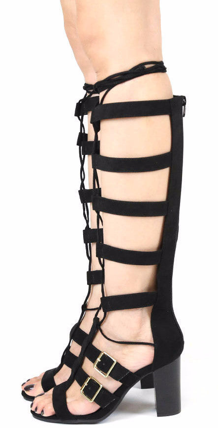 9bcd63ab925 Lucite04a Black Chunky Heel Gladiator Boots From  12.88 -  27.88 ...