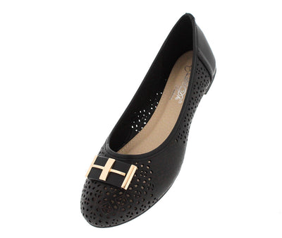 Laccily4 Black Perforated Emblem Flat - Wholesale Fashion Shoes