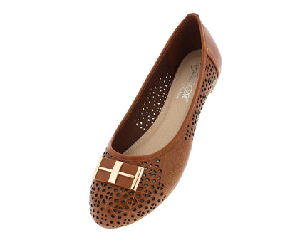 Laccily4 Camel Perforated Emblem Flat - Wholesale Fashion Shoes