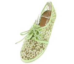 LACE15 GREEN  MESH LACE UP WOMEN'S FLAT - Wholesale Fashion Shoes