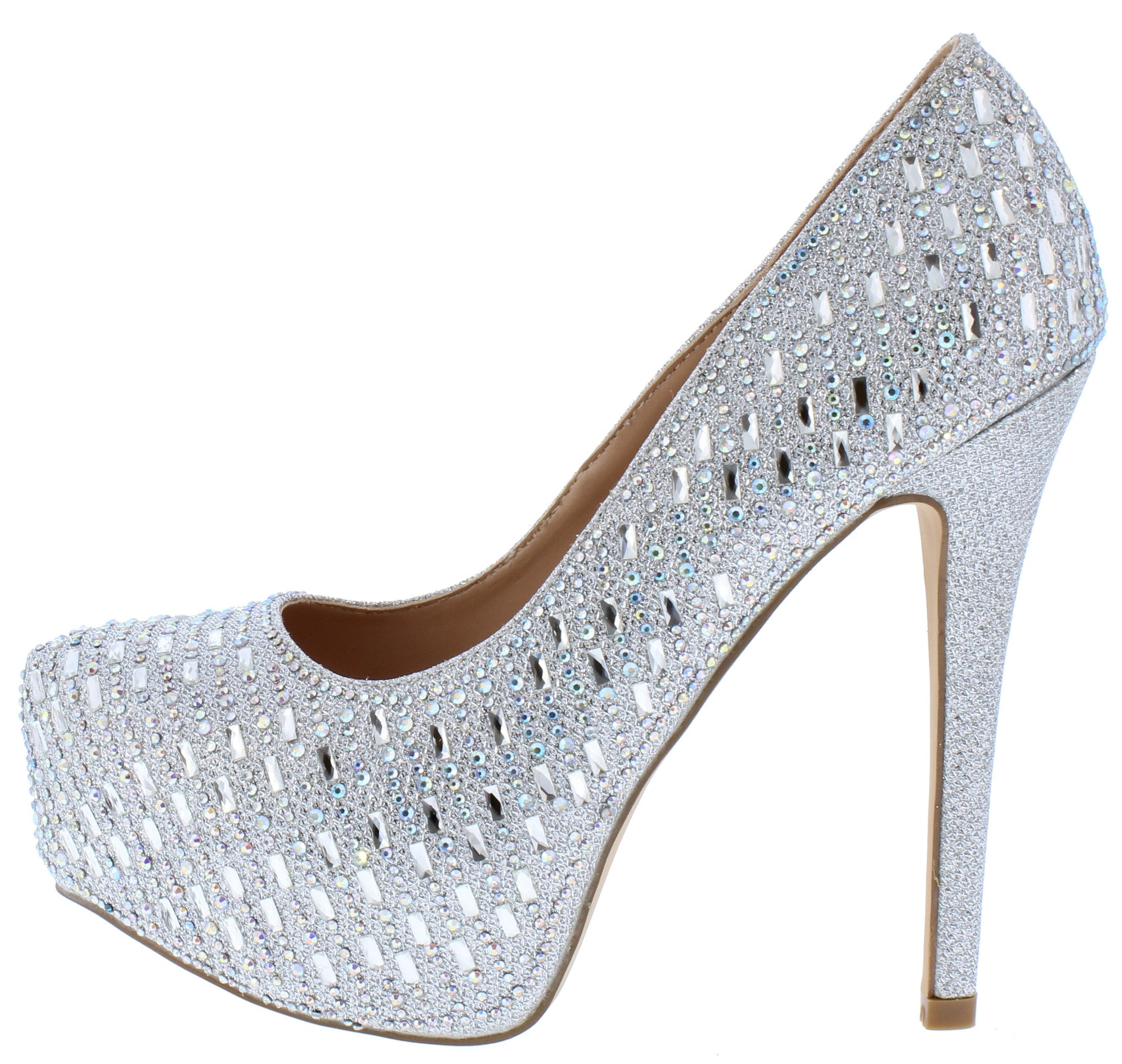 45b7ae4a68c4 Lacee1 Silver Sparkle Embellished Platform Stiletto Heel - Wholesale  Fashion Shoes