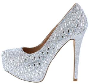7e0448cd760 Lacee1 Silver Sparkle Embellished Platform Stiletto Heel - Wholesale  Fashion Shoes
