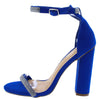 Andrea213 Blue Embellished Open Toe Ankle Strap Heel - Wholesale Fashion Shoes