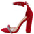 Andrea213 Red Embellished Open Toe Ankle Strap Heel