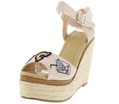 CLARA097 NUDE PU WOMEN'S WEDGE - Wholesale Fashion Shoes