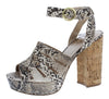 Lad09 Beige Brown Snake Pu Peep Toe Ankle Strap Cork Heel - Wholesale Fashion Shoes