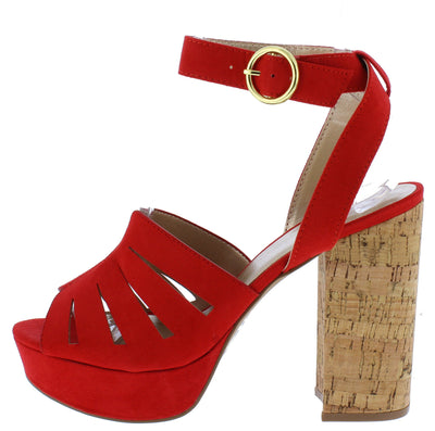 Lad09 Red Suede Peep Toe Ankle Strap Cork Heel - Wholesale Fashion Shoes