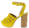 Lad09 Yellow Suede Peep Toe Ankle Strap Cork Heel - Wholesale Fashion Shoes