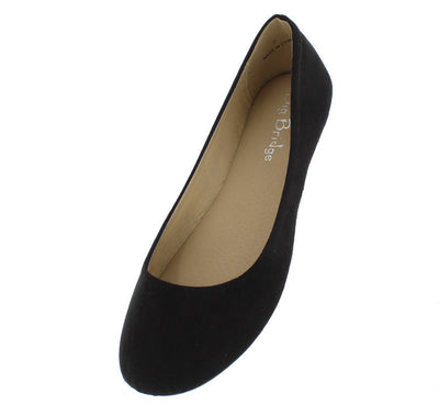 Lady02 Black Suede Full Coverage Ballet Flat - Wholesale Fashion Shoes